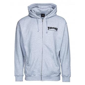 Sweatshirt THRASHER  Sweat Hood Zip Logo Grey  Gris