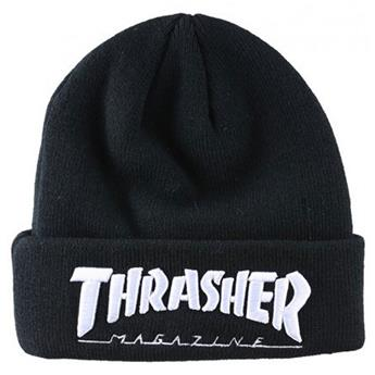 Bonnet THRASHER  Beanie Embroidered Logo Black White