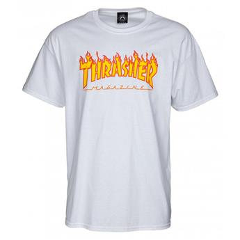 T-shirt THRASHER Flame Logo White