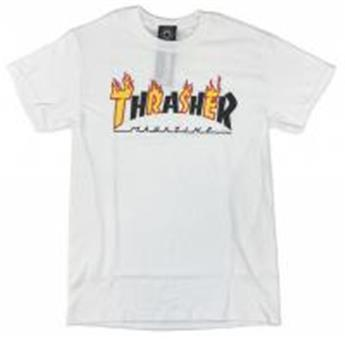 T-shirt THRASHER Flame Mag White