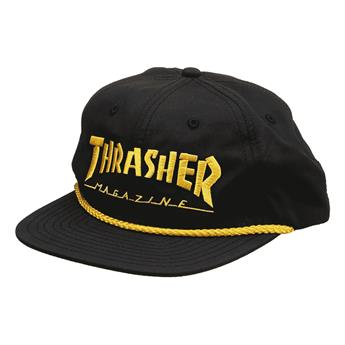 Casquette THRASHER logo rope snapback black yellow